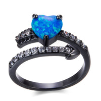 Blue Opal & Black cubic zirconia Heart Bypass Ring - streetregion