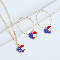 18k Gold-Plated American Flag Heart Necklace & Earring Set - streetregion