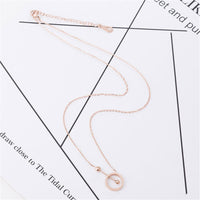 18k Rose Gold-Plated Hollow Circle & Bar Pendant Necklace - streetregion