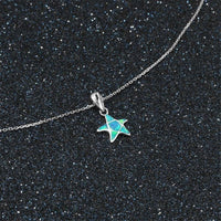 Blue Opal & Fine Silver-Plated Starfish Pendant Necklace - streetregion