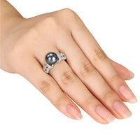 Black Imitation Pearl & cubic zirconia Classical Ring - streetregion