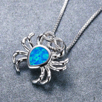 Blue Opal & Fine Silver-Plated Crab Pendant Necklace - streetregion