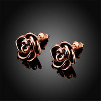 Black & 18k Rose Gold-Plated Rose Stud Earrings - streetregion