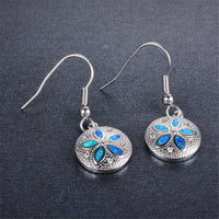 Blue Opal & cubic zirconia Round Floral Drop Earrings - streetregion