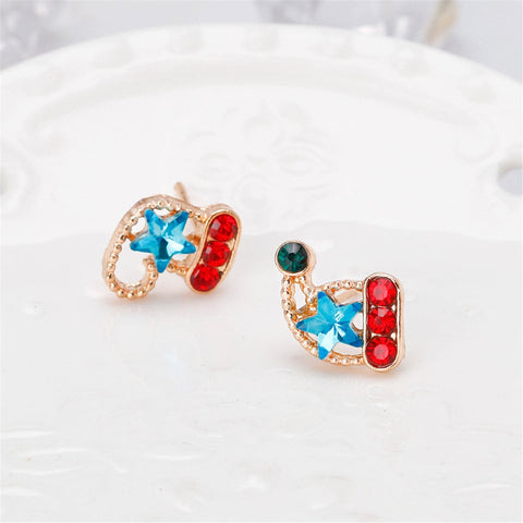 Blue Crystal & Cubic Zircon Stocking & Santa Hat Stud Earrings
