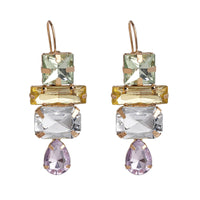 Pastel Crystal & Goldtone Mixed Geo Drop Earrings