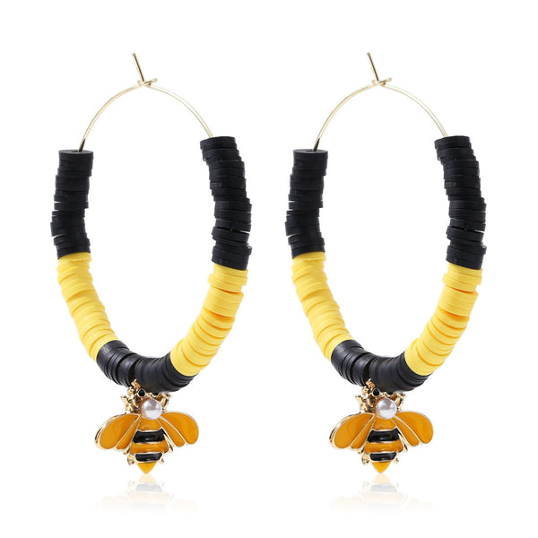Imitation Pearl & Goldtone Bumblebee Beaded Hoop Earrings