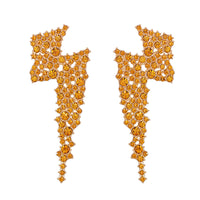 Orange Cubic Zirconia & Goldtone Lightning Stud Earrings