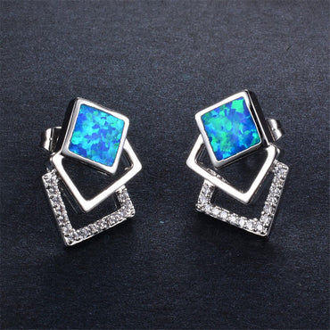 Blue Opal & Cubic Zirconia Tri-Square Stud Earrings - streetregion