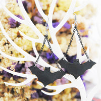 Black Bat Drop Earrings - streetregion