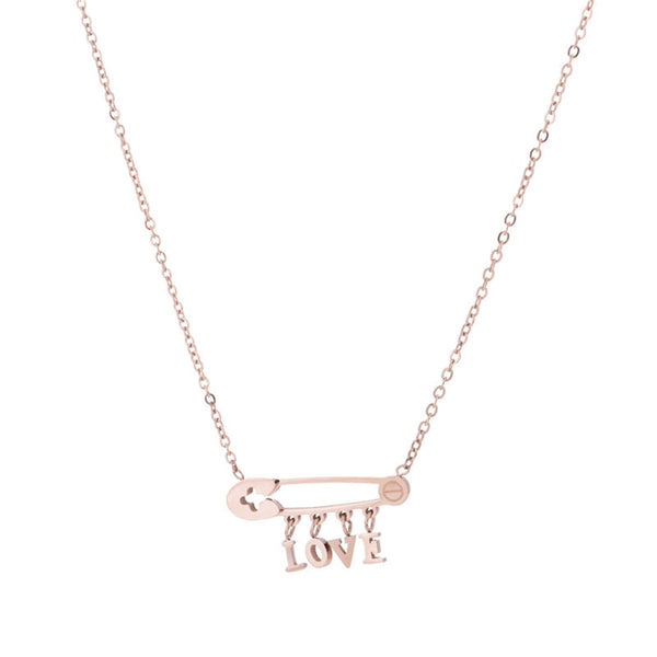 18k Rose Gold-Plated 'Love' Safety Pin Pendant Necklace - streetregion