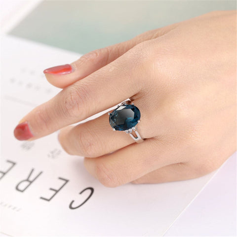 Blue Cubic Zirconia & Silver-Plated Oval-Cut Cocktail Ring - streetregion