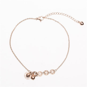 18k Rose Gold-Plated Coin & Bell Charm Anklet