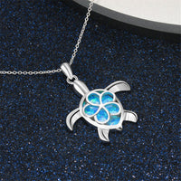 Blue Opal & Fine Silver-Plated Floral Turtle Pendant Necklace - streetregion