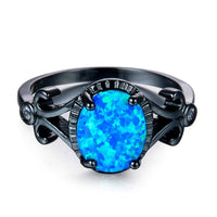 Blue Opal & Black-Plated Openwork Oval Ring - streetregion