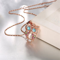 Blue Cubic Zirconia & 18k Rose Gold-Plated Owl Pendant Necklace - streetregion