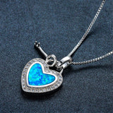 Blue Opal & Fine Silver-Plated Heart & Key Pendant Necklace - streetregion
