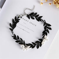 Black Lace & Imitation Pearl Leaf Choker Necklace - streetregion