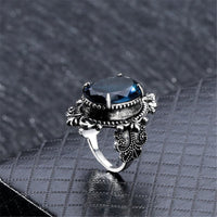 Blue Crystal & Silver-Plated Oval Filigree Ring - streetregion