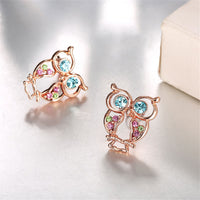Blue Cubic Zirconias & Rose Goldtone Owl Stud Earrings - streetregion
