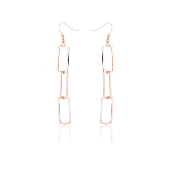 18k Rose Gold-Plated Triple Rectangle Drop Earring - streetregion