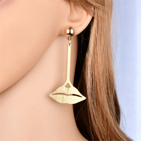 18k Gold-Plated Lips Drop Earrings - streetregion