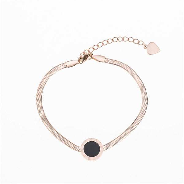 Black Shell & 18k Rose Gold-Plated Roman Numeral Bracelet - streetregion