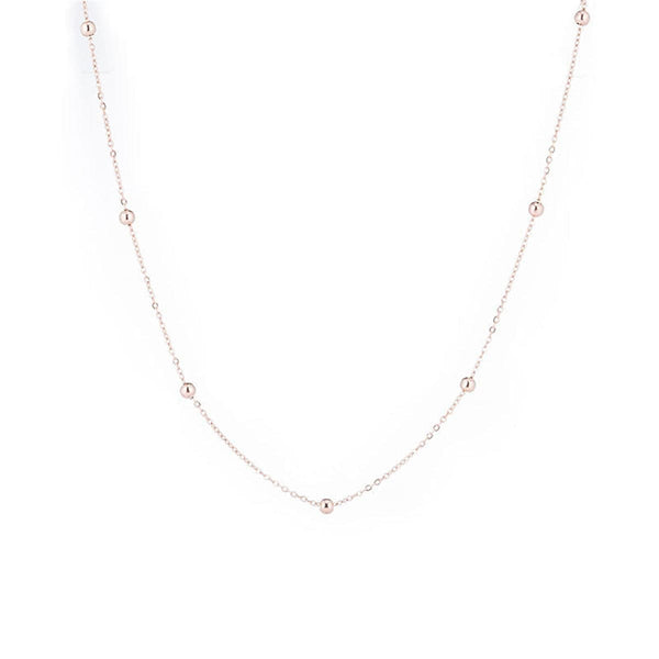 18k Rose Gold-Plated Bead Station Necklace - streetregion