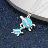 Blue Opal & Fine Silver-Plated Double Turtle Pendant Necklace - streetregion