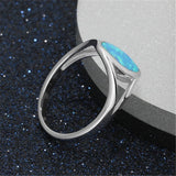 Blue Opal & Fine Silver-Plated Band Ring - streetregion