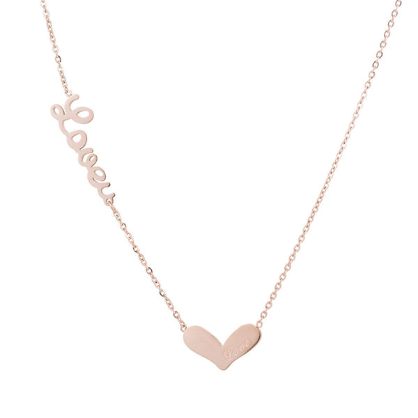 18k Rose Gold-Plated 'Love' Heart Pendant Necklace - streetregion