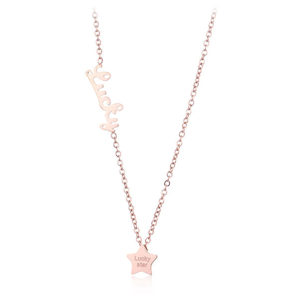 18k Rose Gold-Plated 'Lucky' Star Pendant Necklace - streetregion