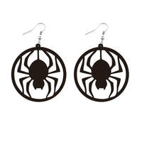 Black Acrylic Spider Silhouette Drop Earrings