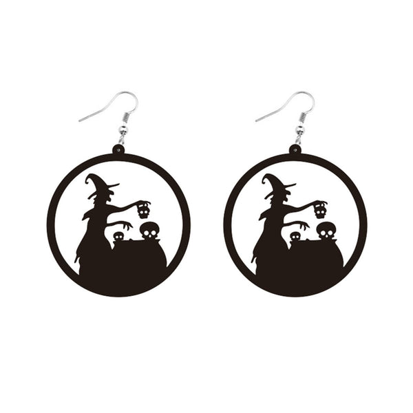 Black Acrylic Witch Silhouette Drop Earrings