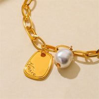 Imitation Pearl & 18k Gold-Plated Circle Drop Earrings