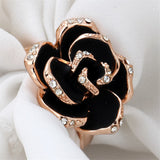 Black & cubic zirconia Rose Ring - streetregion