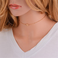 18k Gold-Plated Beaded Pendant Choker Necklace - streetregion