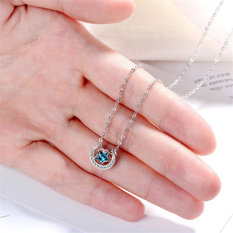 Blue Crystal & Cubic Zirconia Star Above Moon Pendant Necklace - streetregion