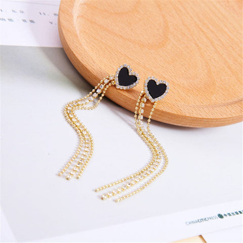 Black Cubic Zirconia & 18k Gold-Plated Heart Tassel Drop Earrings - streetregion