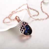 Blue Cubic Zirconia & Rose Goldtone Teardrop Pendant Necklace - streetregion