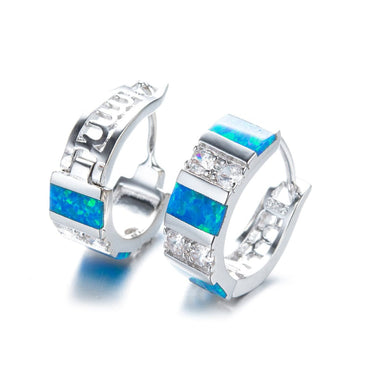 Blue Opal & Cubic Zirconia Huggie Earrings - streetregion