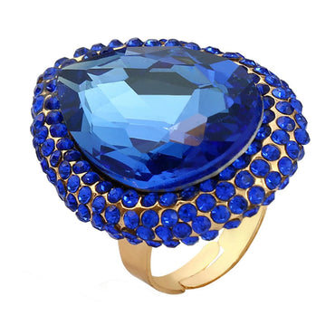 Blue Crystal & Cubic Zirconia Adjustable Teardrop Ring - streetregion