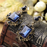 Blue cubic zirconia & 18k Gold-Plated Radient-Cut Drop Earrings - streetregion