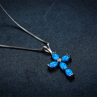 Blue Opal & Fine Silver-Plated Cross Pendant Necklace - streetregion