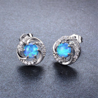 Blue Opal & cubic zirconia Vortex Stud Earrings - streetregion