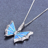 Blue Opal & cubic zirconia Butterfly Pendant Necklace - streetregion