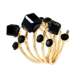 Black Crystal & cubic zirconia Adjustable Stacking Flower Ring - streetregion