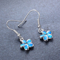 Blue Opal & Fine Silver-Plated Floral Drop Earrings - streetregion