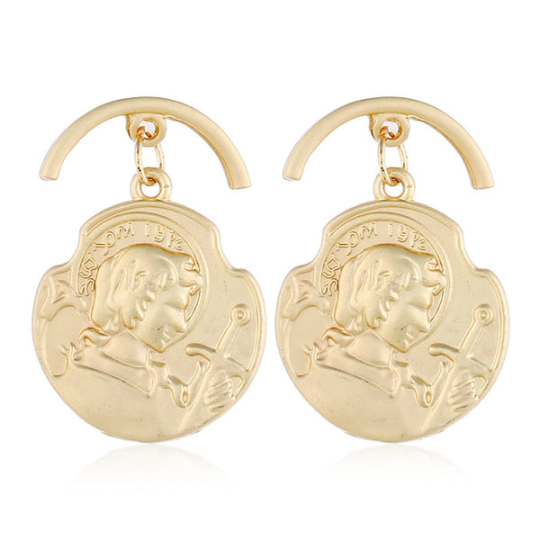 18k Rose Gold-Plated Curved Coin Drop Earrings - streetregion