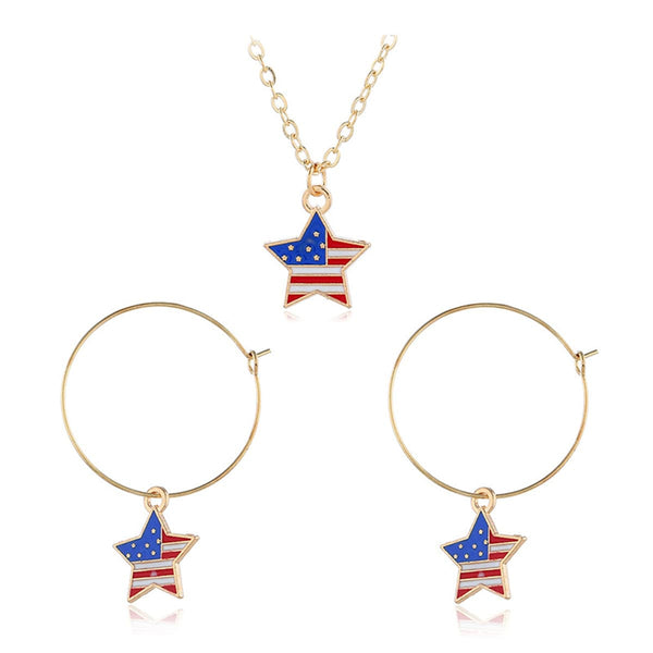 18k Gold-Plated American Flags Star Necklace & Earring Set - streetregion